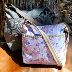 Lesportsac 2 Nylon Grey & Floral Crossbody Bag